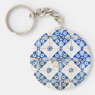 mosaic lisbon blue decoration portugal old tile po basic round button key ring