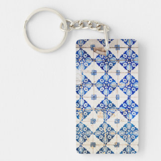 mosaic lisbon blue decoration portugal old tile po Single-Sided rectangular acrylic key ring