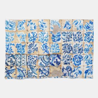 mosaic lisbon blue decoration portugal old tile tea towel