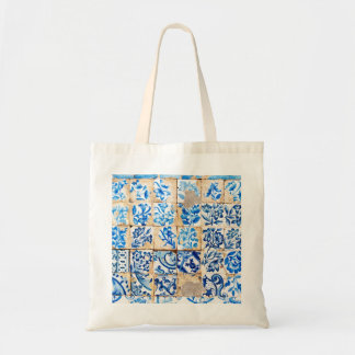 mosaic lisbon blue decoration portugal old tile tote bag