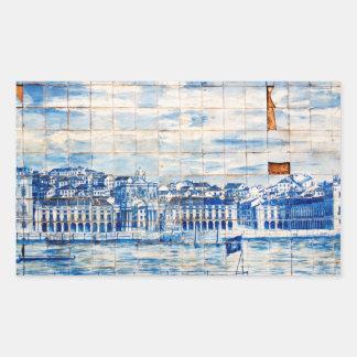 mosaic lisbon blue painting tile porcelain pattern rectangular sticker