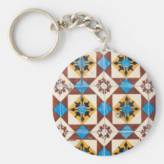 mosaic lisbon decoration portugal tile porcelain basic round button key ring