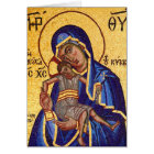 Mosaic Madonna & Child Icon, Blank Inside Card