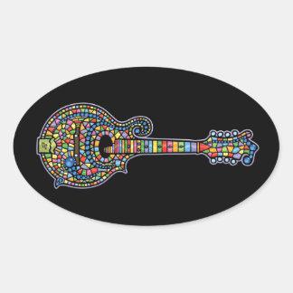 Mosaic Mandolin Oval Sticker