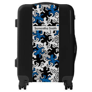 Mosaic Mirror Geckos Pattern - blue black white Luggage