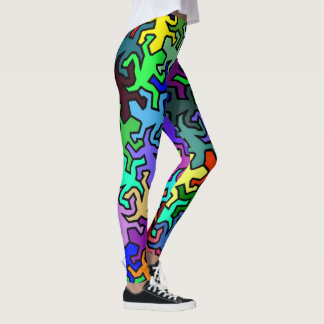 Mosaic Mirror Geckos Pattern - multi colored Leggings
