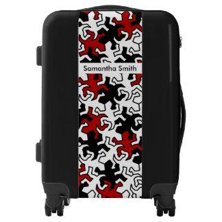 Mosaic Mirror Geckos Pattern - red black white Luggage