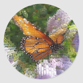 Mosaic Monarch Butterfly Resting on Flowers Round Sticker