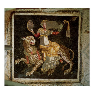 Mosaic of Dionysus riding a Leopard c.180 AD Poster