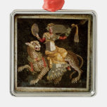 Mosaic of Dionysus riding a Leopard c.180 AD Silver-Colored Square Decoration