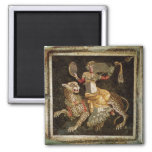 Mosaic of Dionysus riding a Leopard c.180 AD Square Magnet