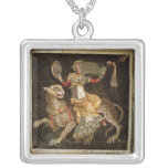 Mosaic of Dionysus riding a Leopard c.180 AD Square Pendant Necklace