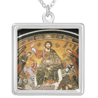 Mosaic of Jesus Christ with the Virgin Silver Plated Necklace