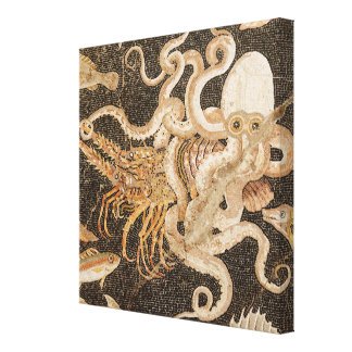 Mosaic of Octopus Struggling with Crayfish Canvas