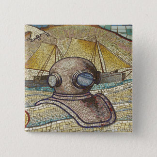 Mosaic of old divers helmet 15 cm square badge