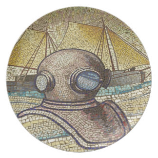 Mosaic of old divers helmet plate