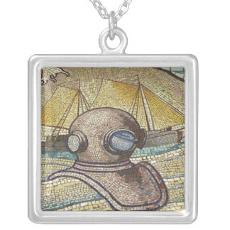 Mosaic of old divers helmet silver plated necklace