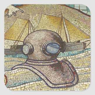 Mosaic of old divers helmet square sticker