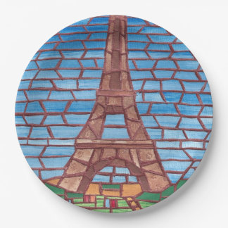 Mosaic Painting Eiffel Tower Paper Plates