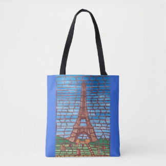 Mosaic Painting Eiffel Tower Tote Bags