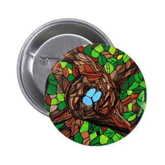 mosaic painting of birds eggs in a tree 6 cm round badge