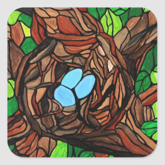 mosaic painting of birds eggs in a tree square sticker