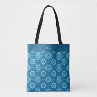 Mosaic patchwork blue denim toned abstract tote bag