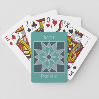 Mosaic pattern custom monogram playing cards