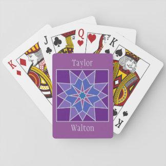 Mosaic pattern custom monogram playing cards