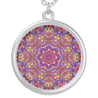 Mosaic Pattern  Necklaces, 3 styles & sizes Silver Plated Necklace