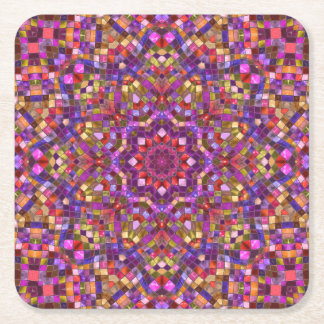 Mosaic Pattern  Pulp board Coasters, 2 shapes Square Paper Coaster