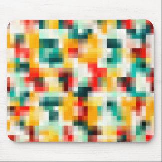 Mosaic Pattern - Red Green Yellow White Mouse Mat