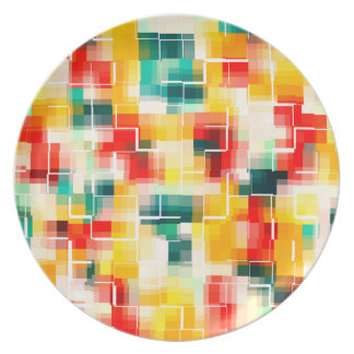 Mosaic Pattern - Red Green Yellow White Plate