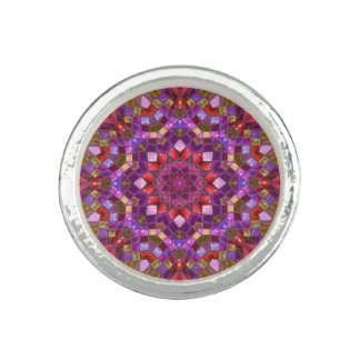 Mosaic Pattern Round Ring
