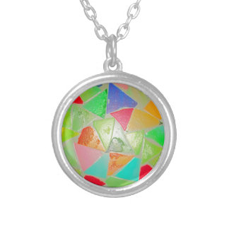 Mosaic Pattern Silver Plated Necklace