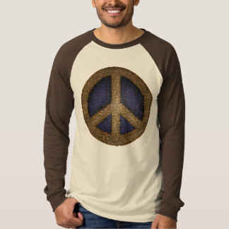 Mosaic Peace Sign in Golds and Blues Shirts