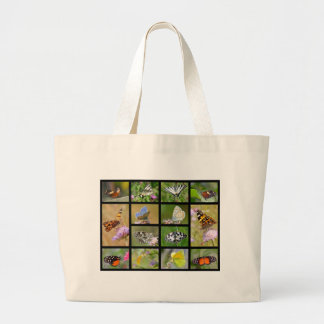 Mosaic photos of butterflies large tote bag