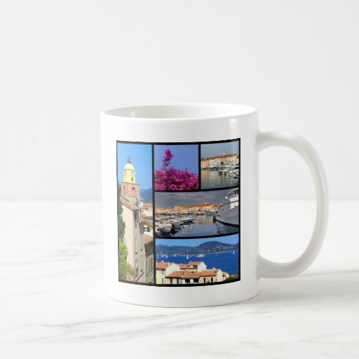 Mosaic photos of Saint Tropez in France Mugs