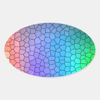 Mosaic Rainbow Oval Sticker