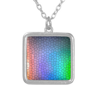 Mosaic Rainbow Silver Plated Necklace