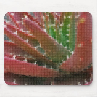 Mosaic Red-Green Aloe 2 Mouse Pad