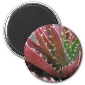 Mosaic Red-Green Aloe 6 Cm Round Magnet