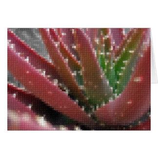 Mosaic Red-Green Aloe Greeting Card