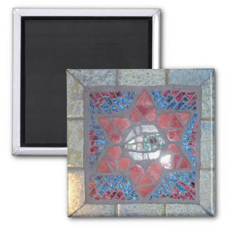 Mosaic Red Heart Star of David with Evil Eye Square Magnet