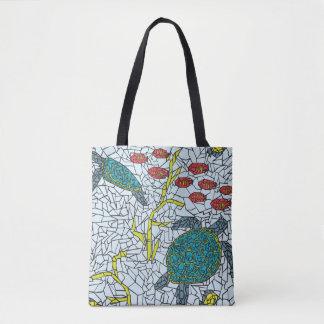 Mosaic Sea Turtles and Tropical Fish Tote Bag