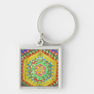 Mosaic Silver-Colored Square Key Ring