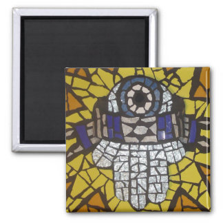 Mosaic Silver Hamsa Star Tallit and Evil Eye Magnet