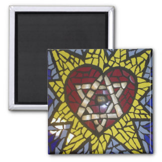 Mosaic Star of David in Heart on Blue Square Magnet