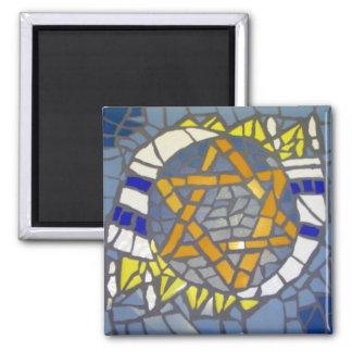 Mosaic Star of David White Talit Square Magnet