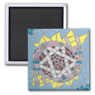 Mosaic Star of David with Pink Tailit Square Magnet